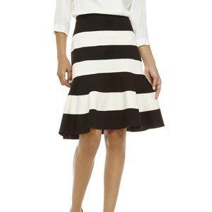 Spense Black White Color Block Knit Flounce Skirt